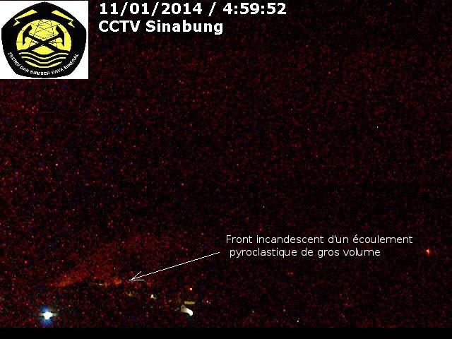 Ecoulement pyroclastique du volcan Sinabung, 11 janvier 2014