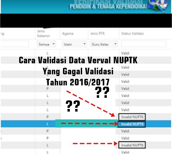 Cara Validasi Data Verval NUPTK Yang Gagal Validasi Tahun 2016/2017
