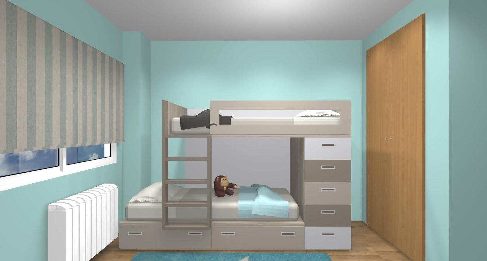 Dormitorio juvenil con cama tren y zona de estudio para dos - Habitaciones juveniles con cama abatible ...