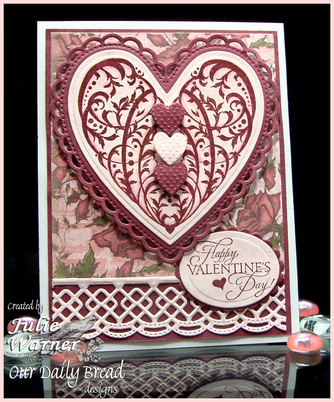 Stamps - Our Daily Bread Designs Bless Your Heart, ODBD Custom Beautiful Borders Dies, ODBD Custom Quatrefoil Die, ODBD Custom Ornate Hearts Die, ODBD Heart and Soul Paper Collection