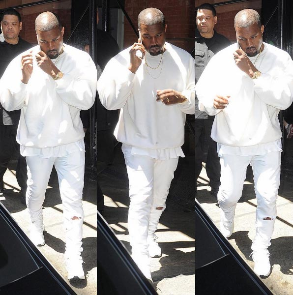 Kanye West steps out it all-white outfit