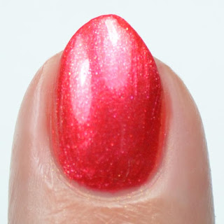 shimmery red nail polish swatch