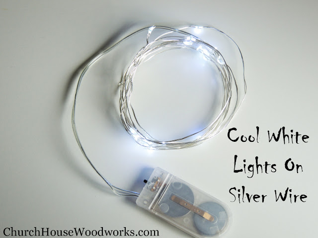 Cool White Lights On Silver Wire LED Battery Operated String Lights