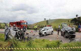 Um grave acidente no final da tarde desse domingo (04/01/2015) no KM 674 da BR-040, em Carandaí, envolvendo três (03) carros – Grand Siena [OPT/2278-Belo Horizonte], Gol [OQB/7083-Contagem] e Bravo [LNI/4727-Petropolis] – e uma (01) Carreta carregada de madeira, deixou cinco (05) pessoas da mesma família mortas, entre elas uma criança de apenas 1 ano, e outra sete (07) pessoas feridas.