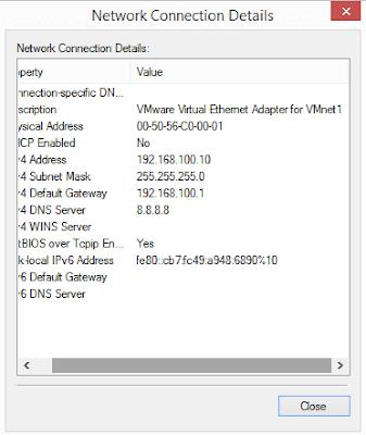 Melihat konfigurasi ip melalui Network Connection Details