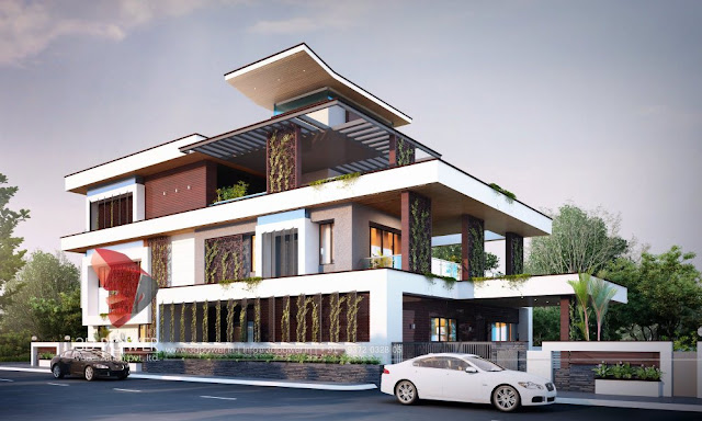 Luxurious 3D Exterior Rendering of a Bungalow