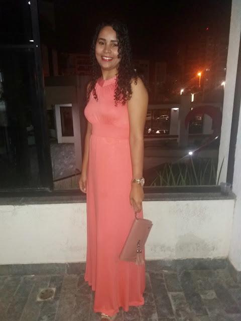 Longo e rasteirinha, Look para evento, Look Shopping, Look vestido longo, Vestido longo salmão, vestido longo laranja, Geisa Santos, Achegue-se!