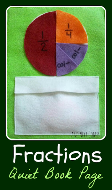 Fractions quiet book page from And Next Comes L