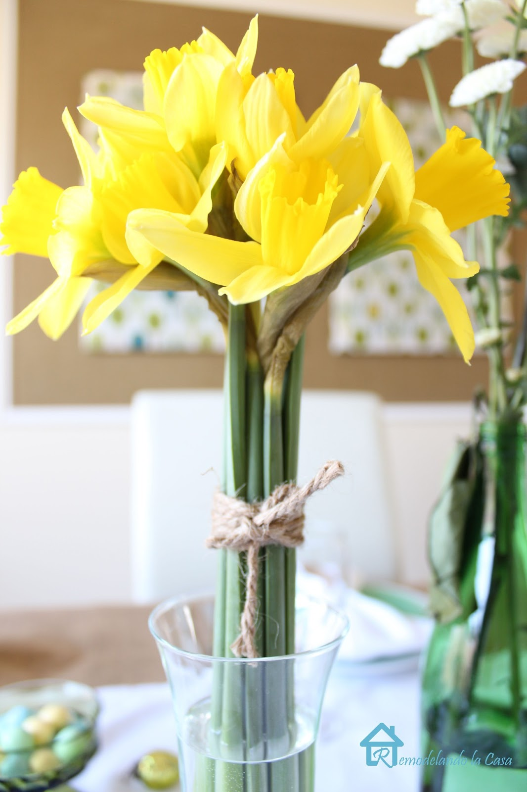 yellow lilies adorning an Easter table