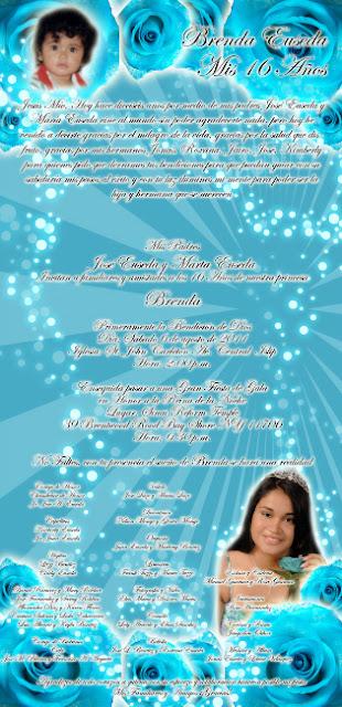 Tarjeta de Invitación Turquesa con Rosas turquesa para 15 años elegante y destellos