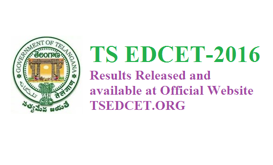 TS EDCET-2016 ( B.Ed ) Entrance Exam Results @tsedcet.org