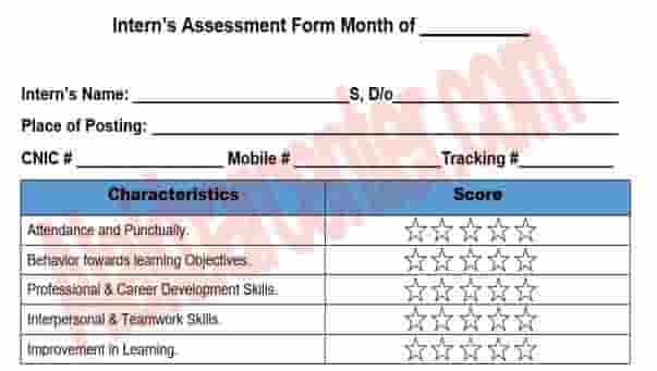 Intern's Assessment form of (NIP) National Internship Program free Download PDF