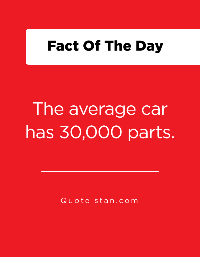 The average car has 30,000 parts.