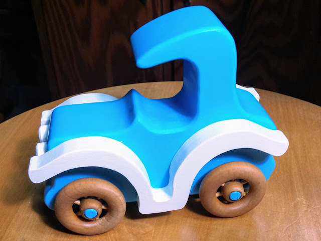 Handmade Wooden Toy Car - Bad Bob's Custom Motors - Blue & White