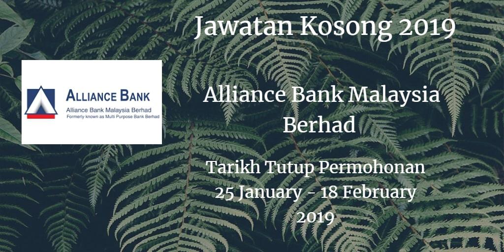 Jawatan Kosong Alliance Bank Malaysia Berhad 25 January -  18 February 2019