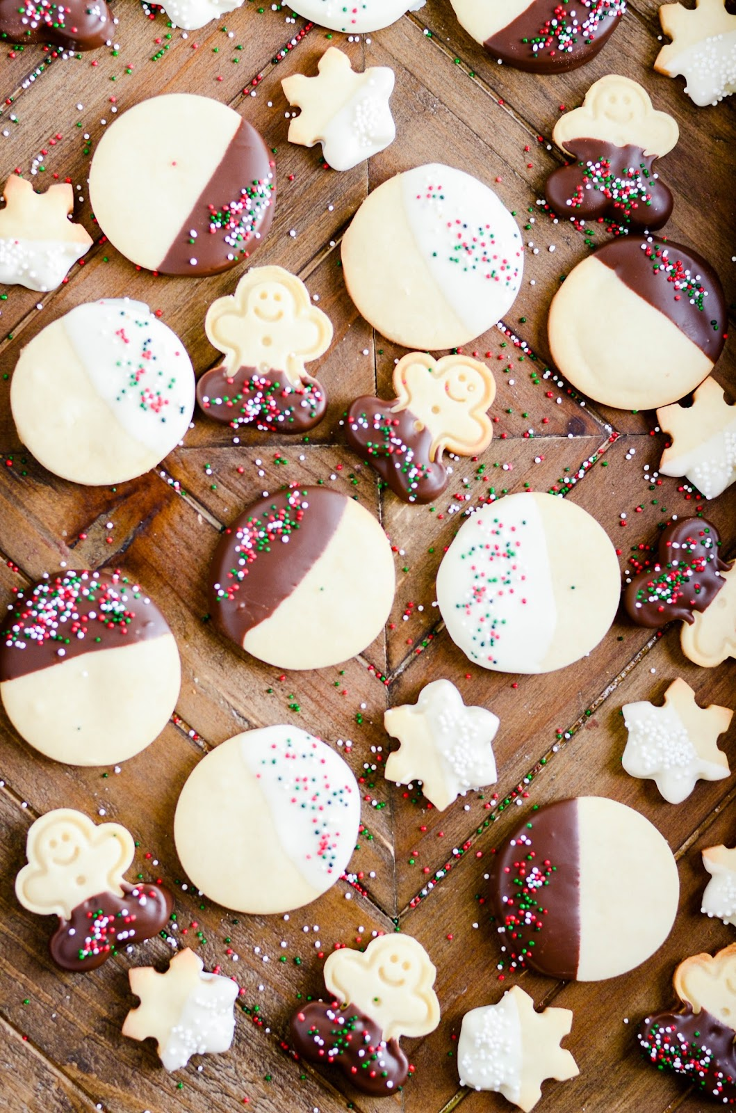 With just three, simple ingredients you can make a delicious, traditional shortbread. Dip it in chocolate and add sprinkles to make it extra festive!