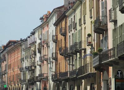 Palazzi along Cuneo's elegant, arcaded Corso Nizza.