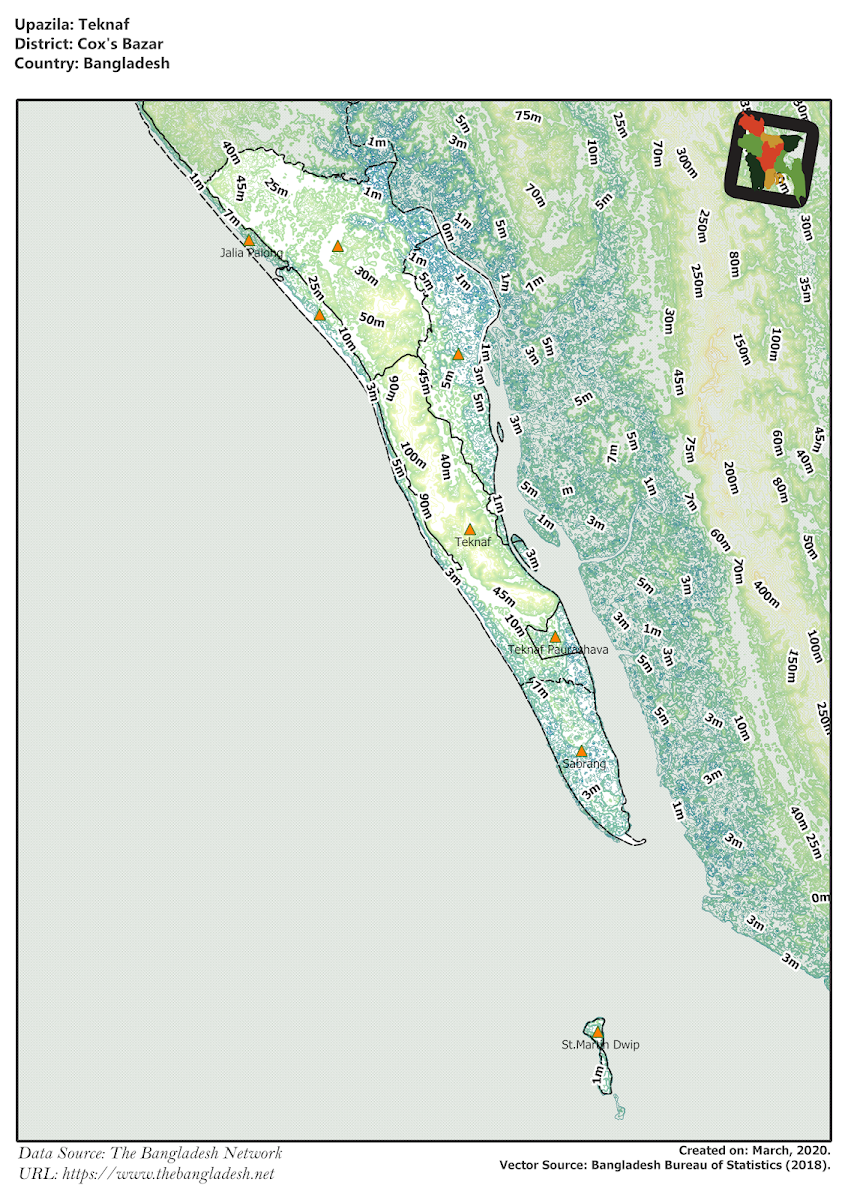 Teknaf Upazila Elevation Map Cox's Bazar District Bangladesh