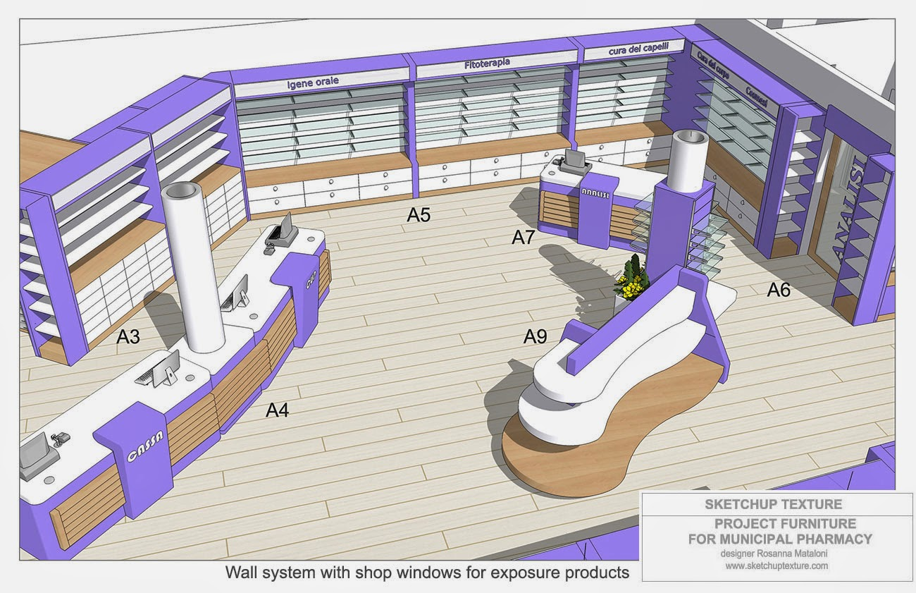 Sketchup texture how to design a modern pharmacy 3d for Store layout design software