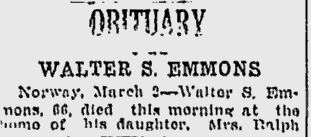 Obituary of Walter Scott Emmons