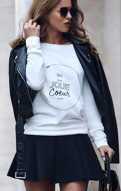 white and black | leather jacket + printed sweatshirt + skirt + bag