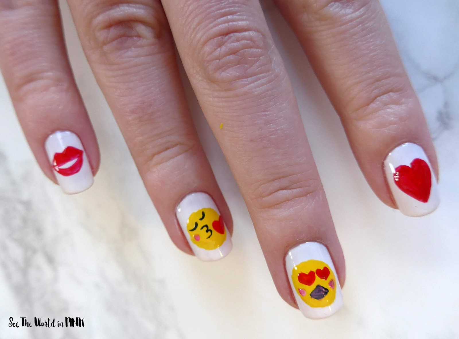Emoji Nail Art for Valentine's Day