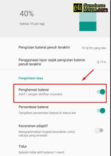 Mengaktifkan penghemat baterai di Android One