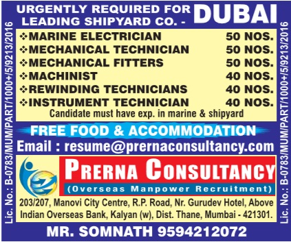 Job openings in Shipyard Company in Dubai