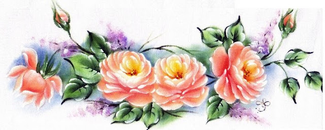 pintura em tecido rosas pano de prato