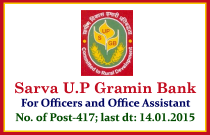 Sarva U.P Gramin Bank Recruitment 2015