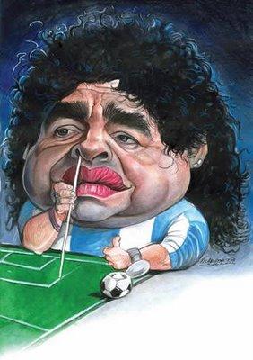 Resultado de imagem para Maradona e o pó de cocaina: charges