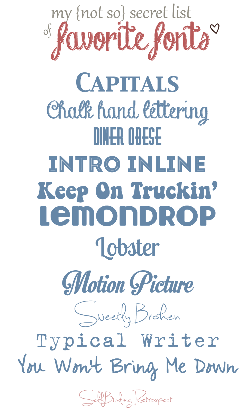 My Blogging Tool Box {my favorite fonts} - SelfBinding Retrospect by Alanna Rusnak