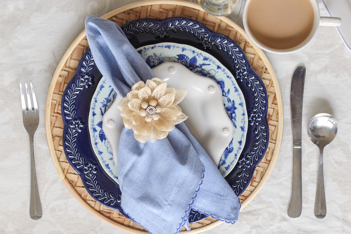 A Blue & White Easter Brunch Tablescape
