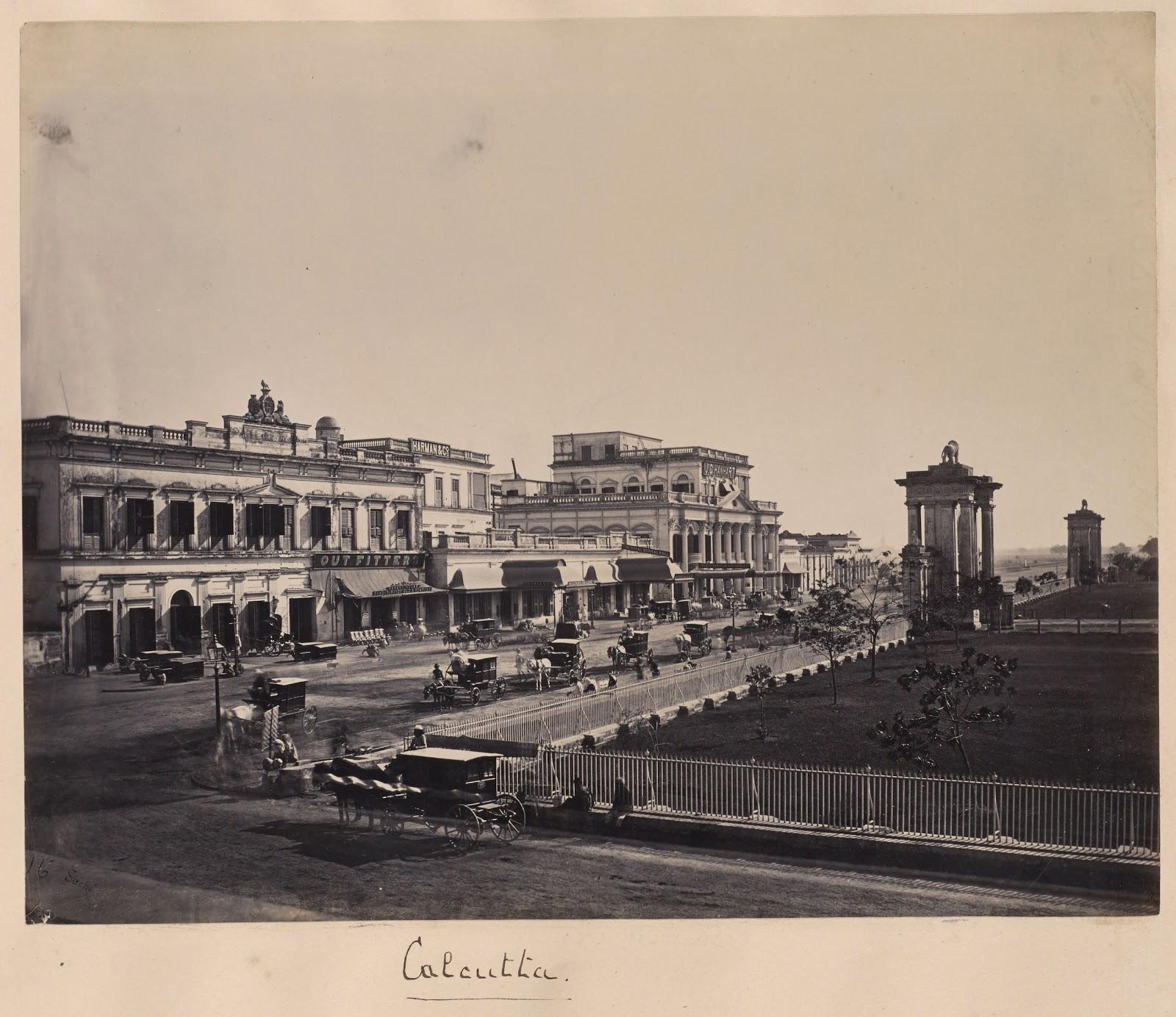 Calcutta (Kolkata) Buildings and Street Scene - C1881