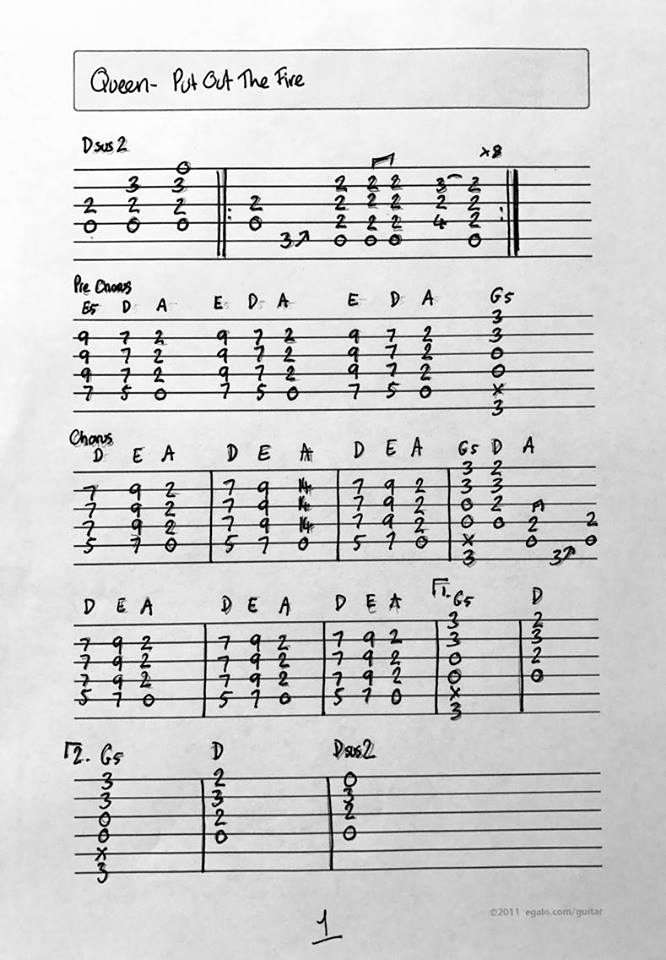 Queen Corner Queen Put Out The Fire Guitar Lesson Guitar Tab