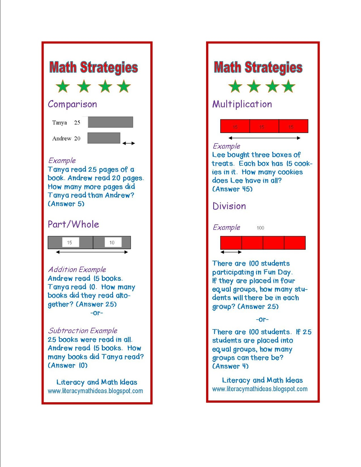 Literacy Amp Math Ideas Free Math Word Problem Strategy