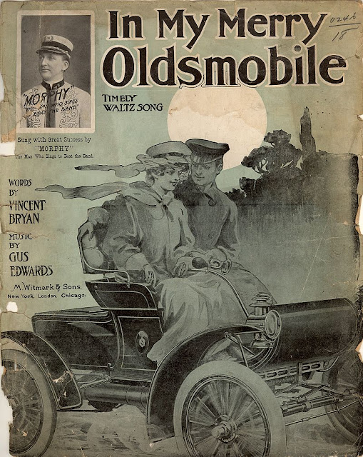 In My Merry Oldsmobile sheet music illustration 1903. Jingles and other stories of The American Dream. marchmaton.com