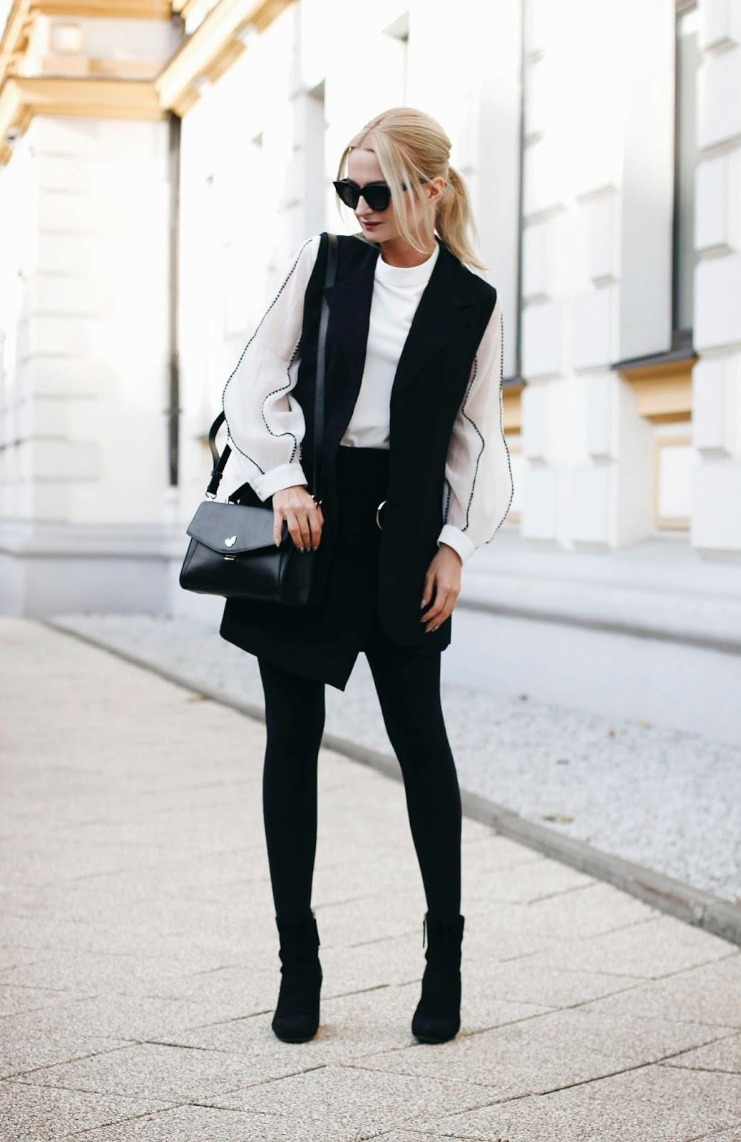 Klasyczna biało - czarna stylizacja