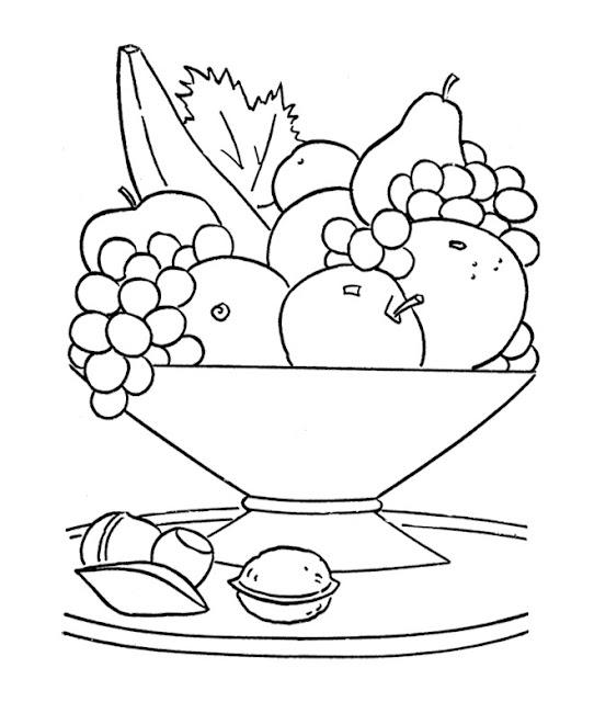 cesta de frutas para pintar e imprimir