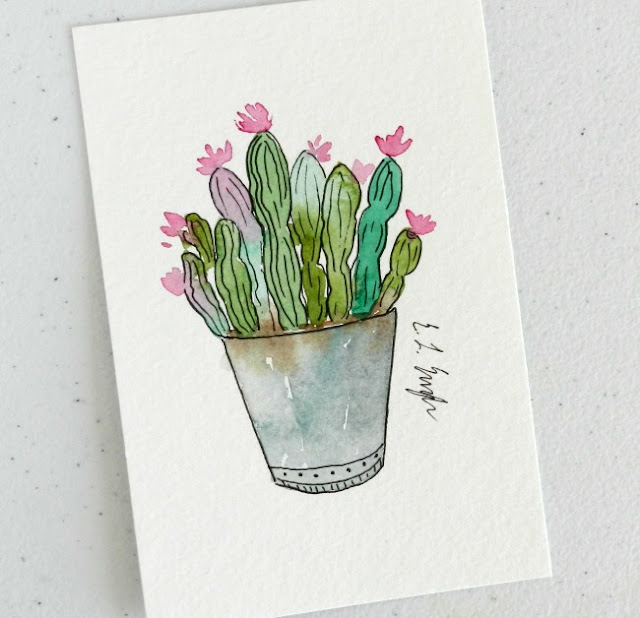 Mini Green and Pink Cactus Watercolor Illustration by Elise Engh