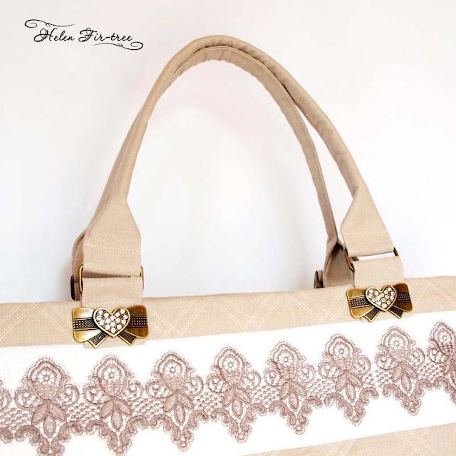 beach linen bag with embroidery пляжная льняная сумка с вышивкой