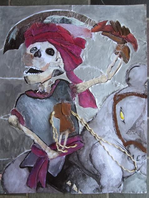 painting depicting swashbuckler human skeleton riding a rat