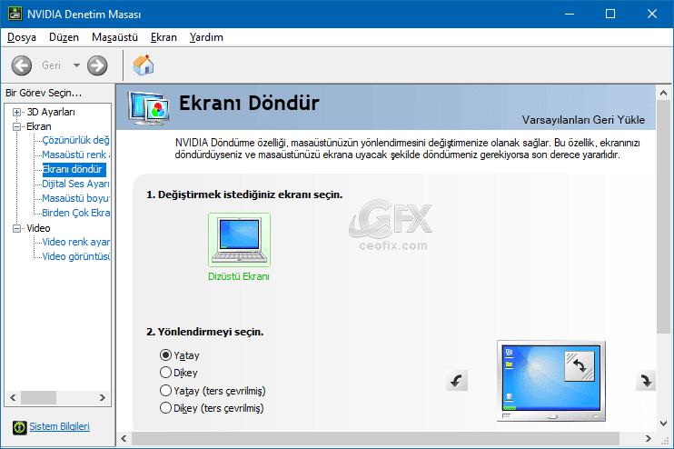 NVIDIA ekranı döndür - www.ceofix.com