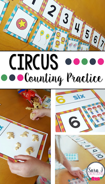 Free circus themed counting cards. Perfect for counting practicing, sequencing numbers and more. #preschool #kindergarten
