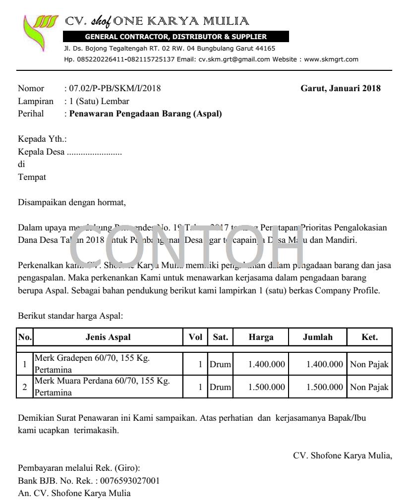 Contoh Surat Penawaran Pengadaan Aspal Excel Shofone Karya