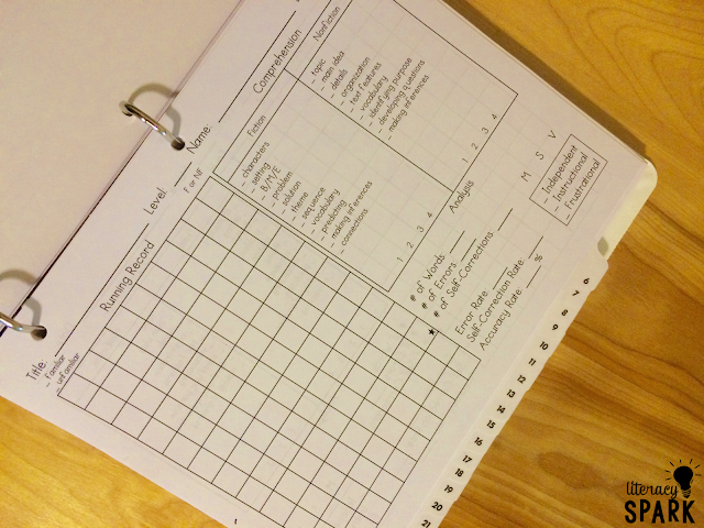 Tips for organizing and simplifying running records.  Grab a free and editable template for administering running records that can be used with any book.