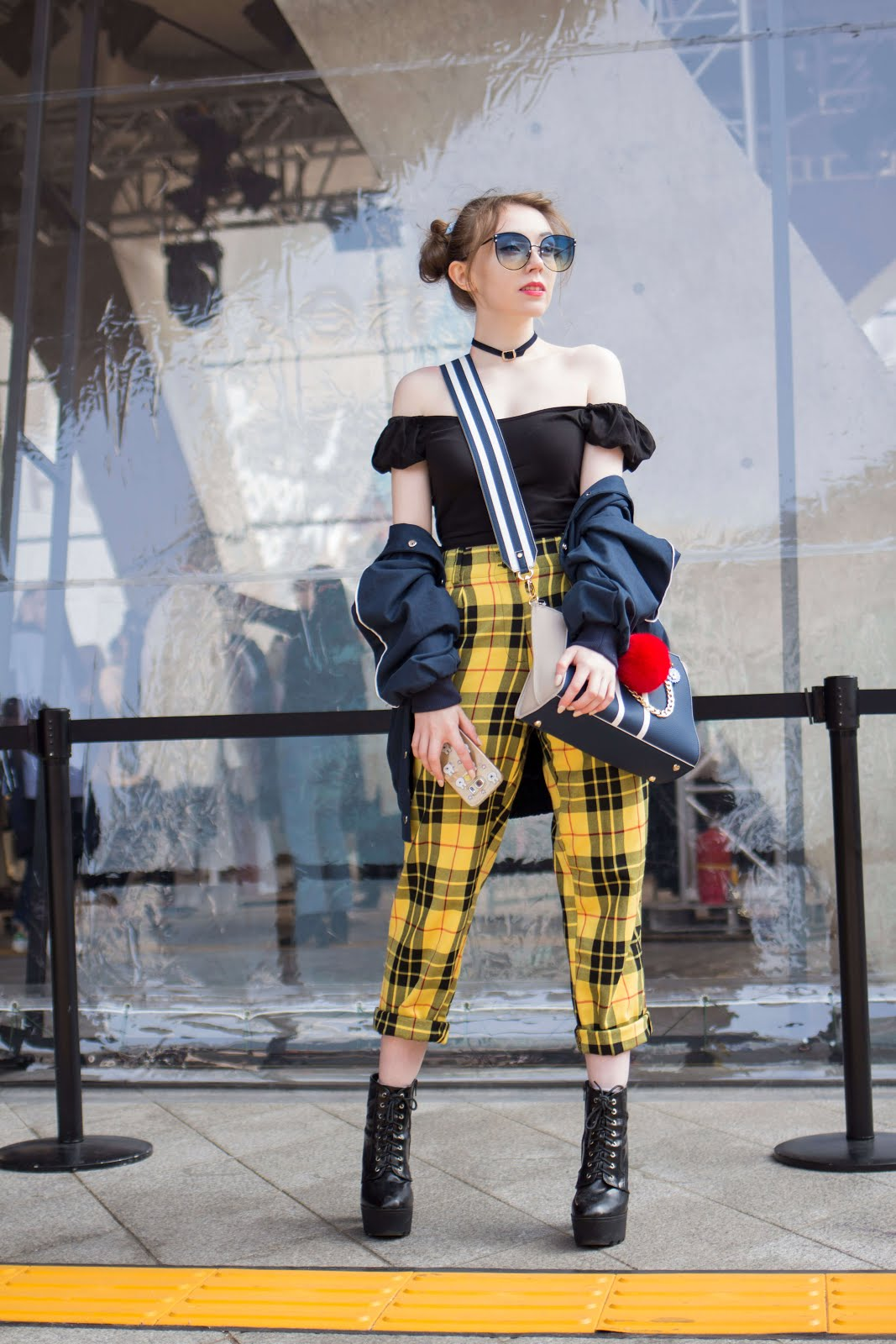 yellow check trouser style inspiration