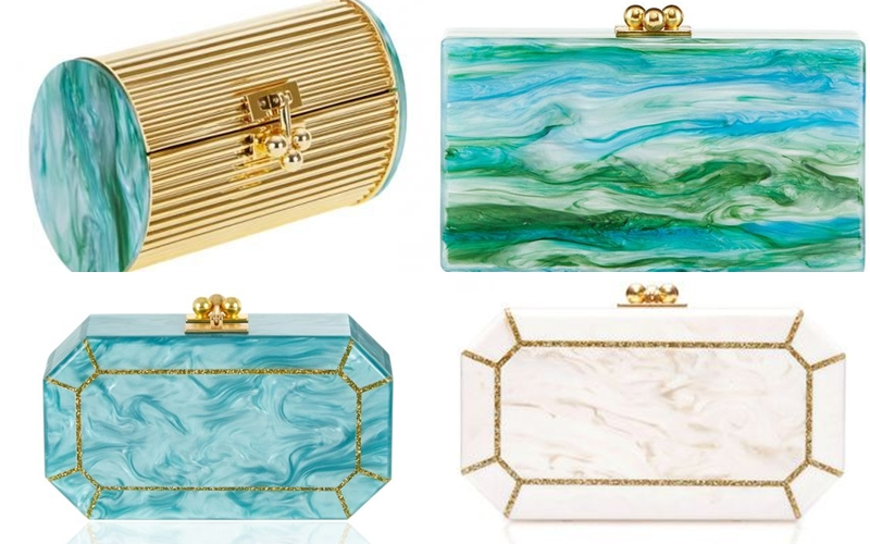 Edie Parker turquoise blue acrylic clutches