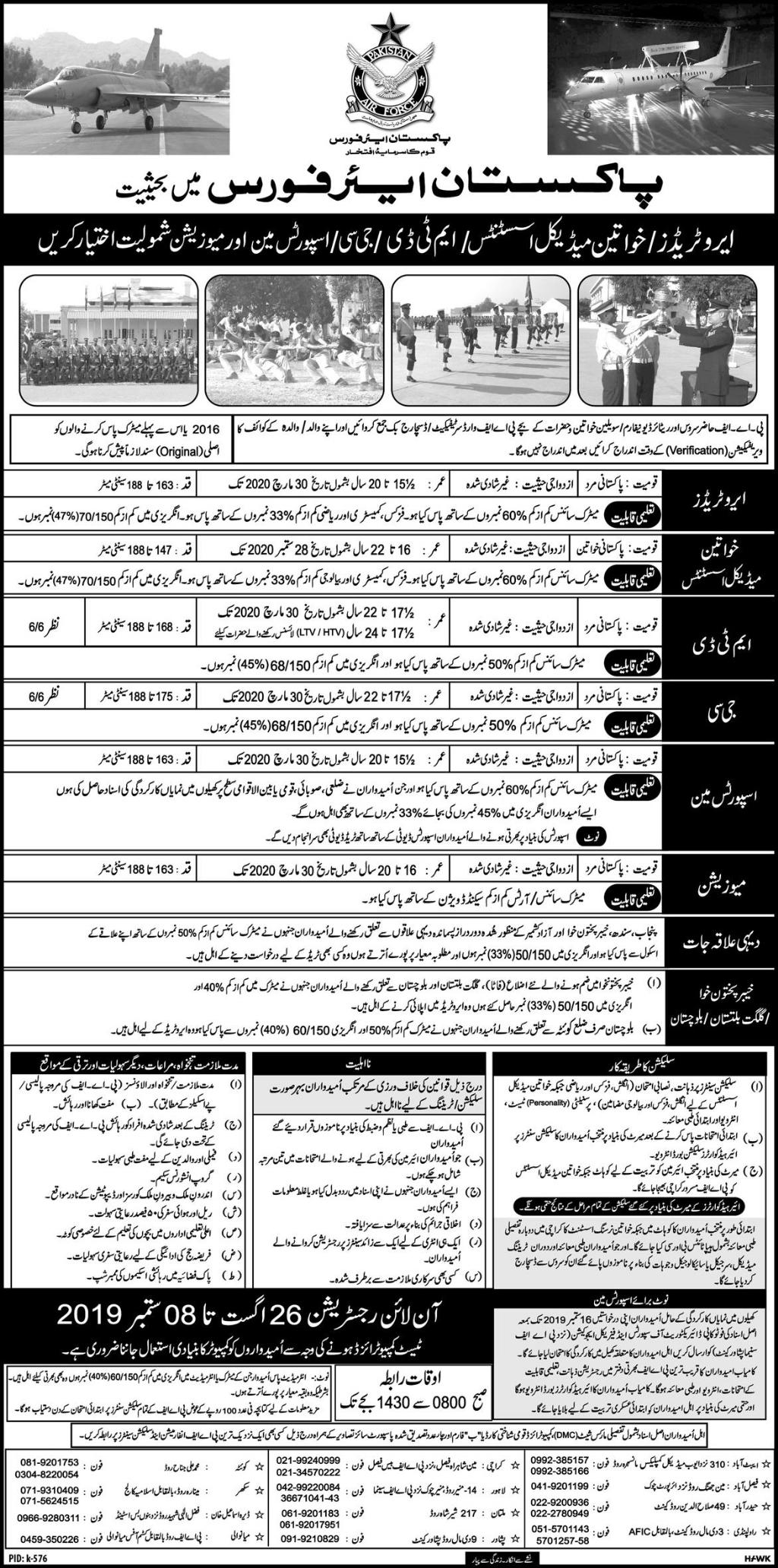 Pakistan Air Force (PAF) Jobs 25 August 2019 - Online