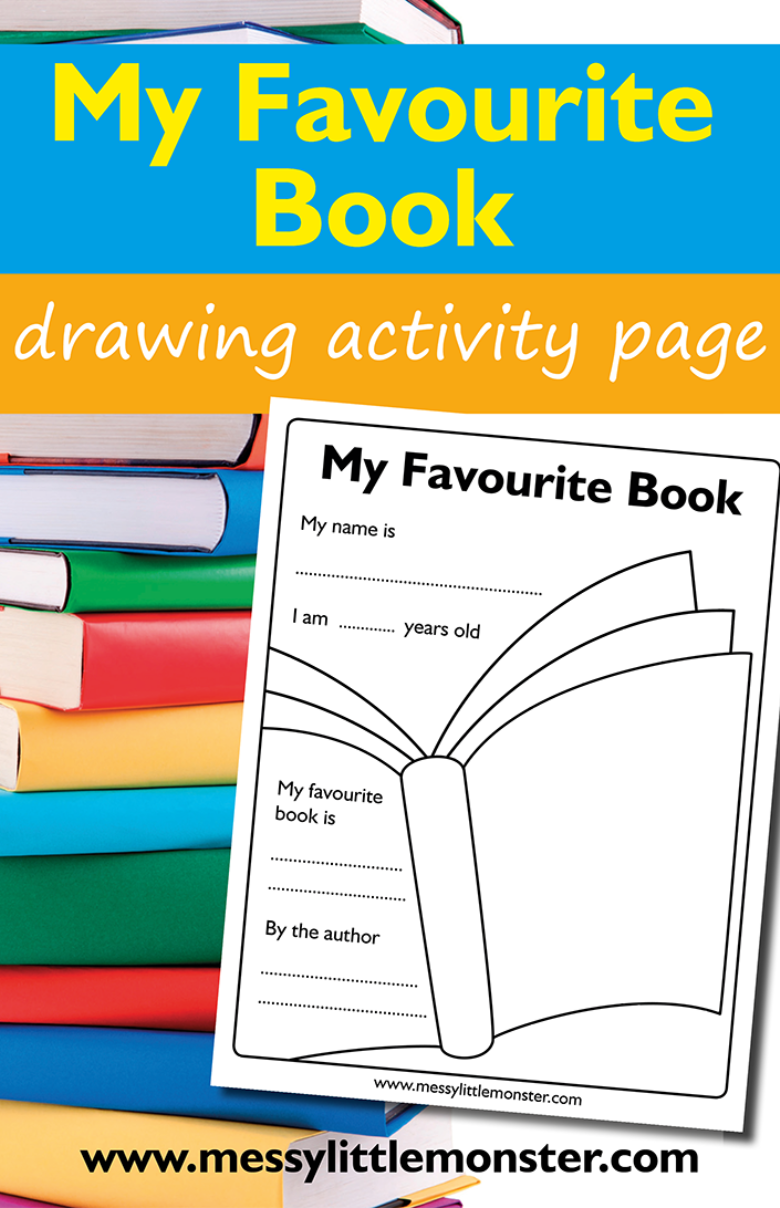 Free printable my favourite book template for kids. World Book Day worksheet.